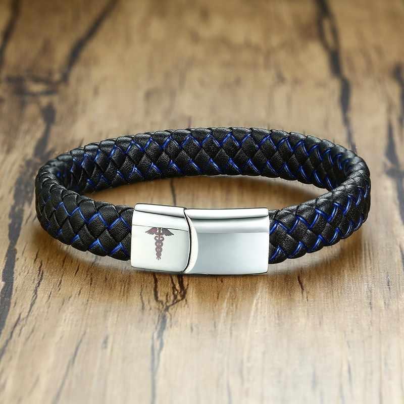 Bransoletka skórzana dla mężczyzn spersonalizowana bransoletka identyfikacyjna czarny niebieski kolor niestandardowy alarm medyczny Brazelt plecionka biżuteria