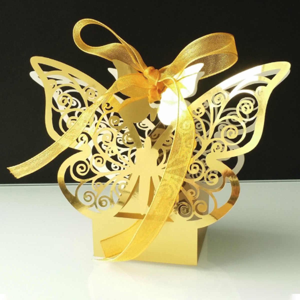50 Pcs Bướm Món Quà Hộp Giấy Sáng Tạo Laser Cắt Wedding Kẹo Hộp Sô Cô La Carton Trang Trí Đám Cưới Nguồn Cung Cấp