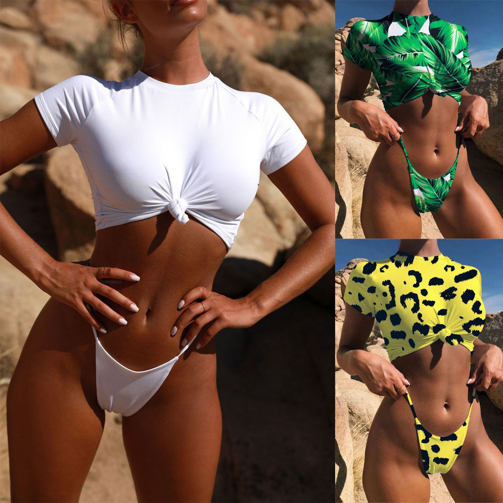 f1c9aa1703576 2019 Sexy Retro Front Tie Knot T shirt Crop Top Biquini Bathing Suit Female  Swimsuit Micro Thong Swimwear Women Brazilian Bikini-in Bikinis Set from  Sports ...