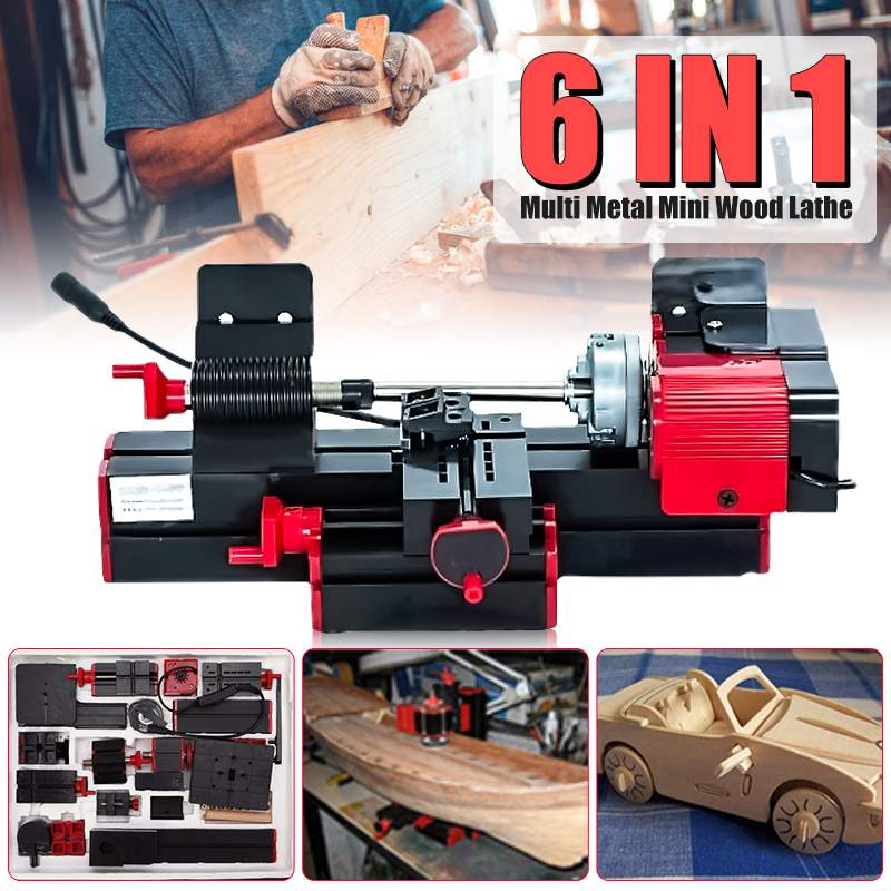 Diy 6 em 1 multi metal mini torno de madeira motorizada jig-saw moedor perfurador fresadora cnc torno de madeira máquinas para trabalhar madeira dc 12 v