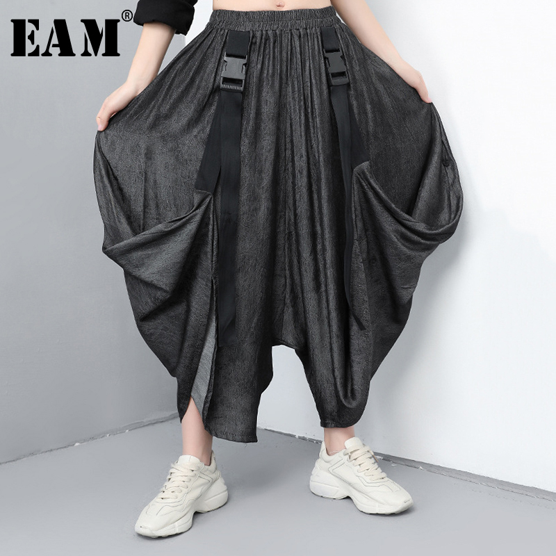 [EAM] 2019 New Spring Summer High Elastic Waist Black Irregular Fold Stitch   Wide     Leg     Pants   Women Trousers Fashion Tide JR067