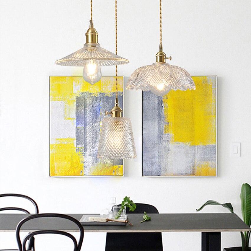 Vintage Loft Led Copper Pendant Lamp Glass Hanging Lamp Living Room Bedroom Restaurant Cafe Kitchen Fixtures Lighting Luminaire in Pendant Lights from Lights Lighting