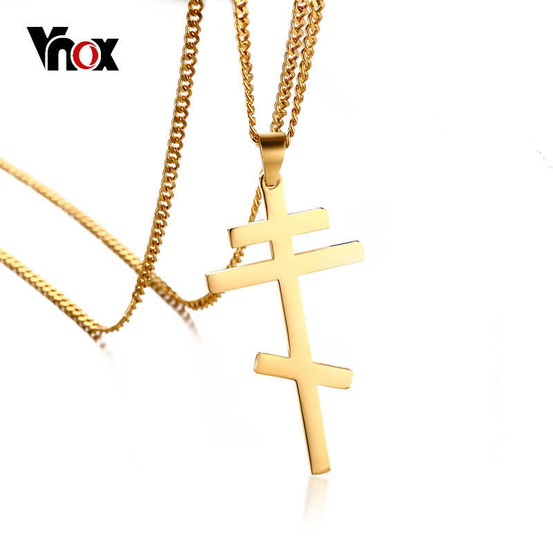 Vnox Slavonic Cross Pendant Necklace for Men Orthodox Christianity Eternal Church Jewelry Russia /Greece /Ukraine