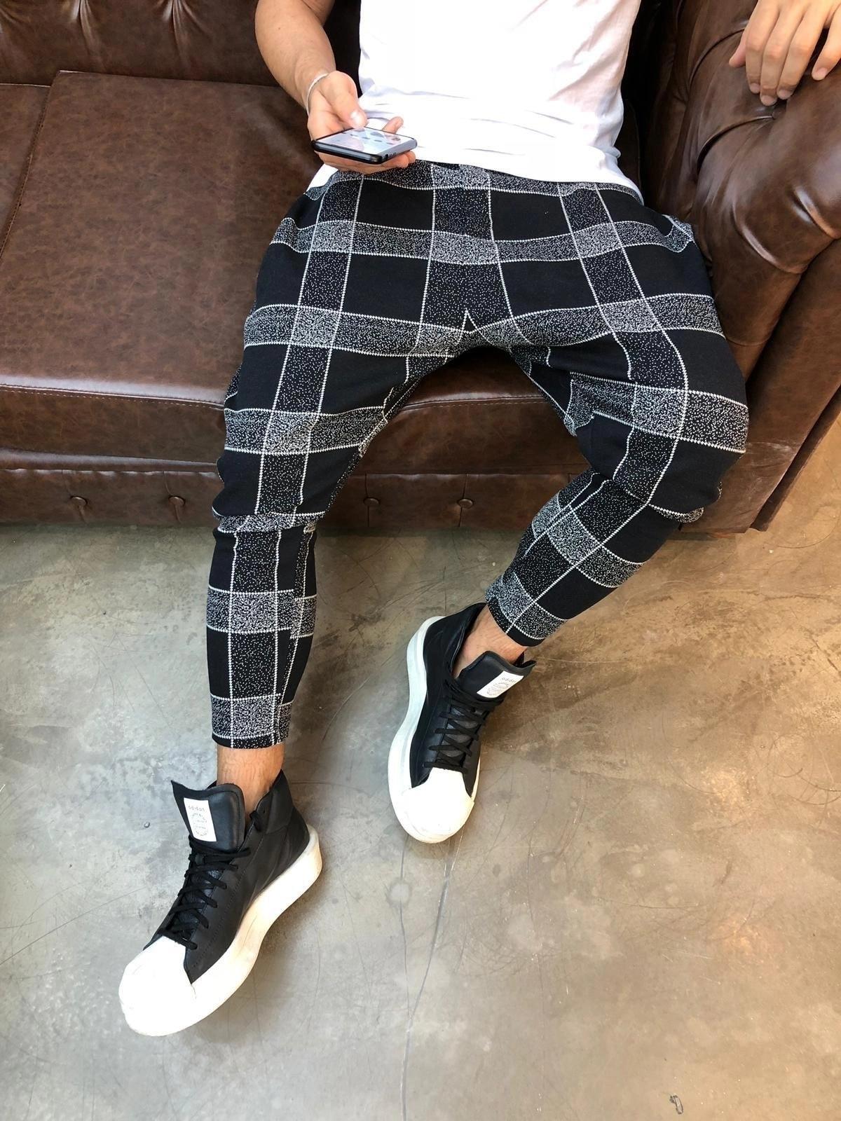 Mens Fashion Plaid Pants Elastic Waist Harem Trousers Streetwear Causal Pencil Joggers Sweatpants Men Pantalon Plus Size M 3XL in Harem Pants from Men 39 s Clothing