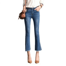 Spring Summer Stretch Skinny Jeans Woman High Waist Slim Ankle Length For Women Denim Flare Capris Pants Female