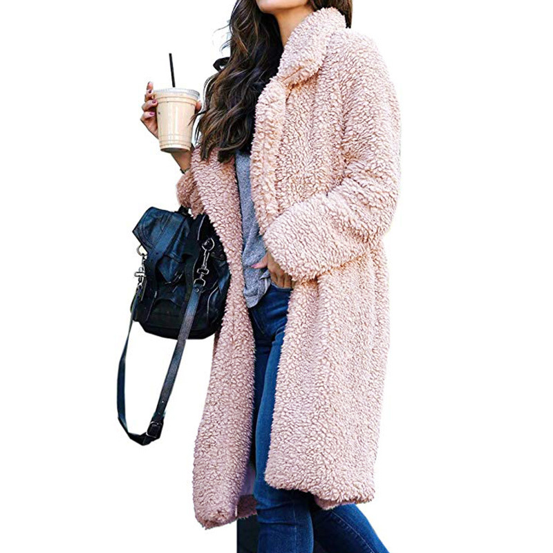 Plush Coat Women Fur Lamb Thicken Winter Warm Long Sleeve Female Jackets Overcoat Outwear Faux Fur Coat For Women