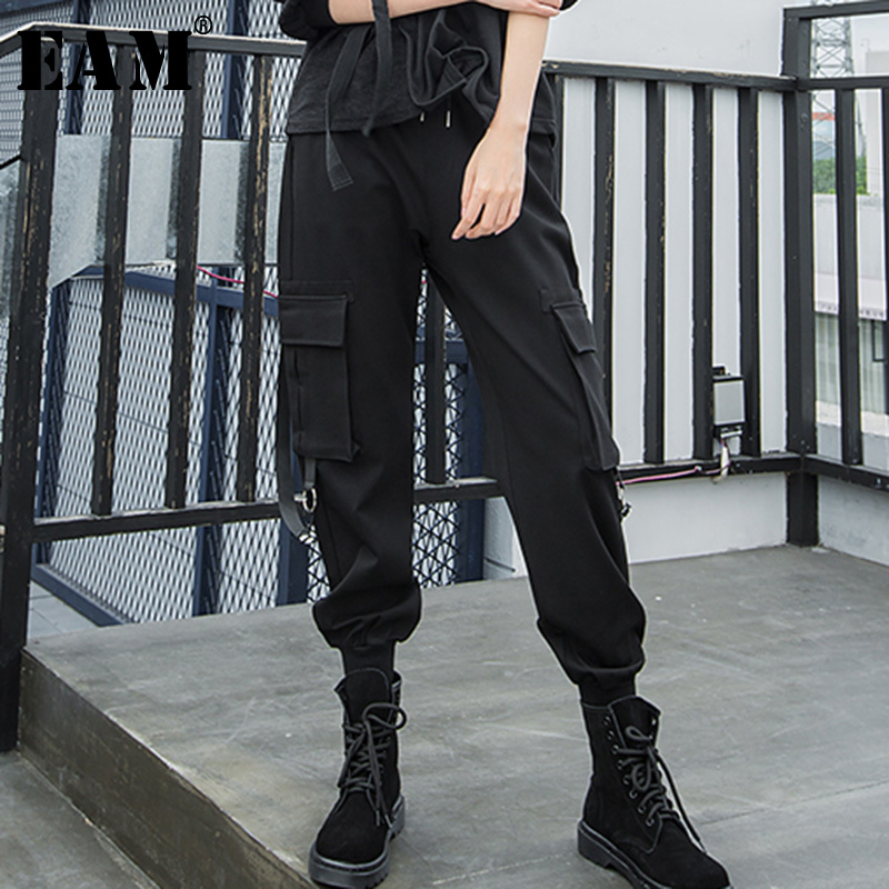 EAM 2019 Spring Summer Woman Solid Black Color Long Loose Pockets Spliced High Elastic Waist
