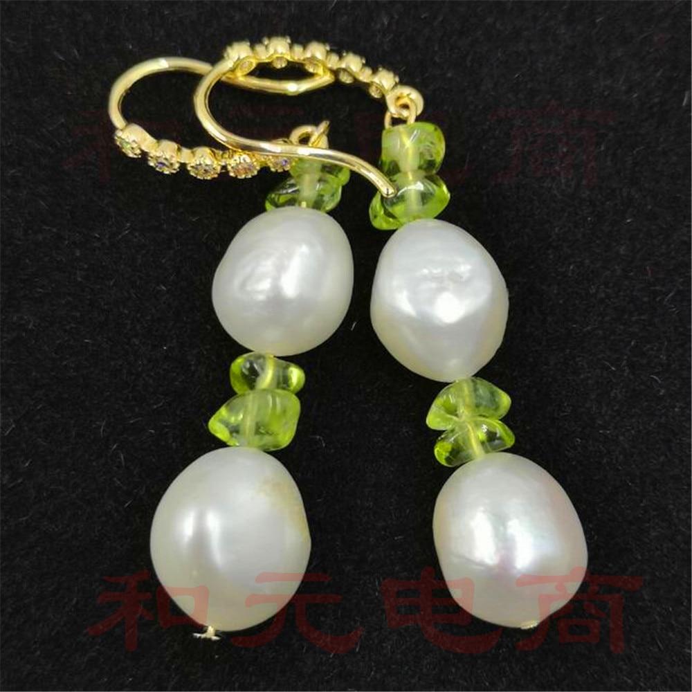 8-9MM HUGE baroque pearl earrings 18K gold plating south sea TwoPin creamy