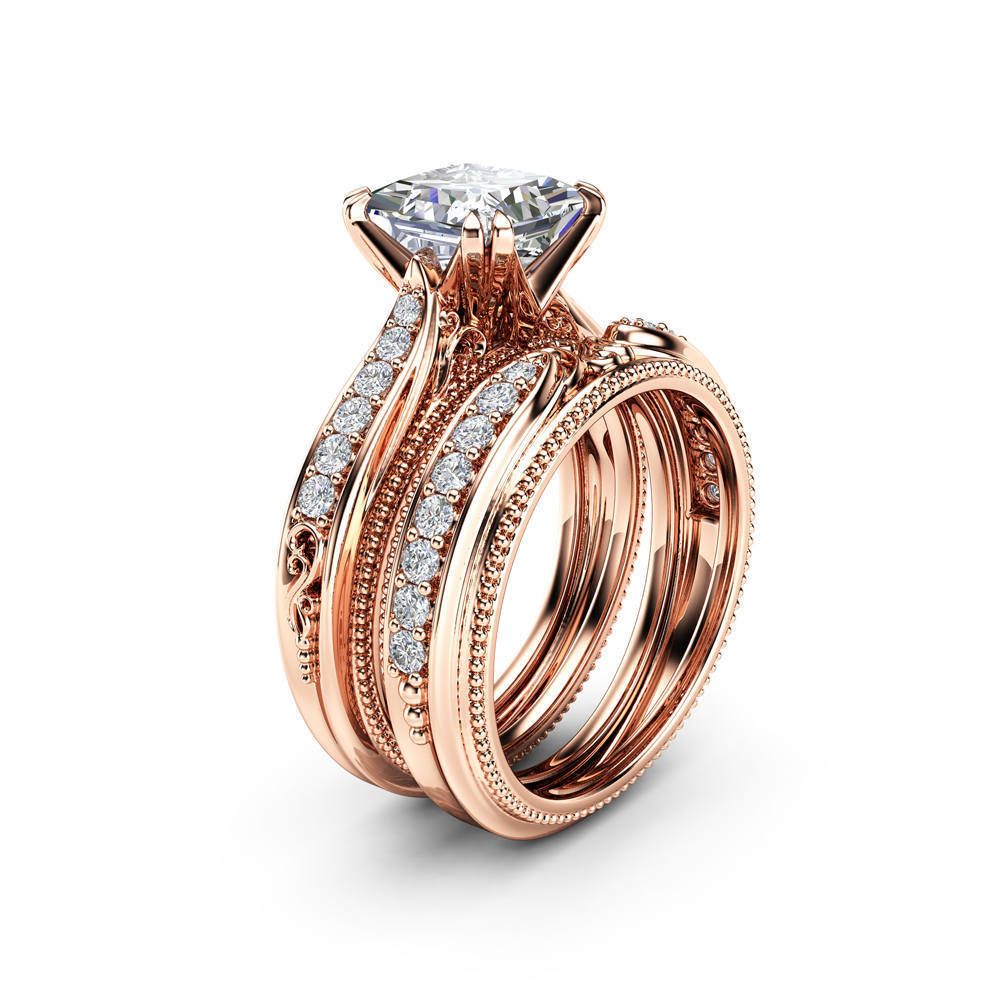 18k Rose Gold Diamond Rings The Engagement Princess Square Diamond For Women Anillos De Diamante Bizuteria Gemstone Ring Jewelry