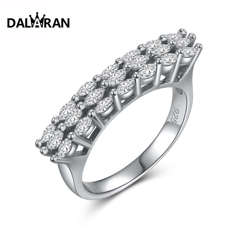 DALARAN Wedding 925 Silver Rings For Women Glittering Oval CZ Finger Ring For Anniversary Fashion Fine Jewelry Girlfriend Gift
