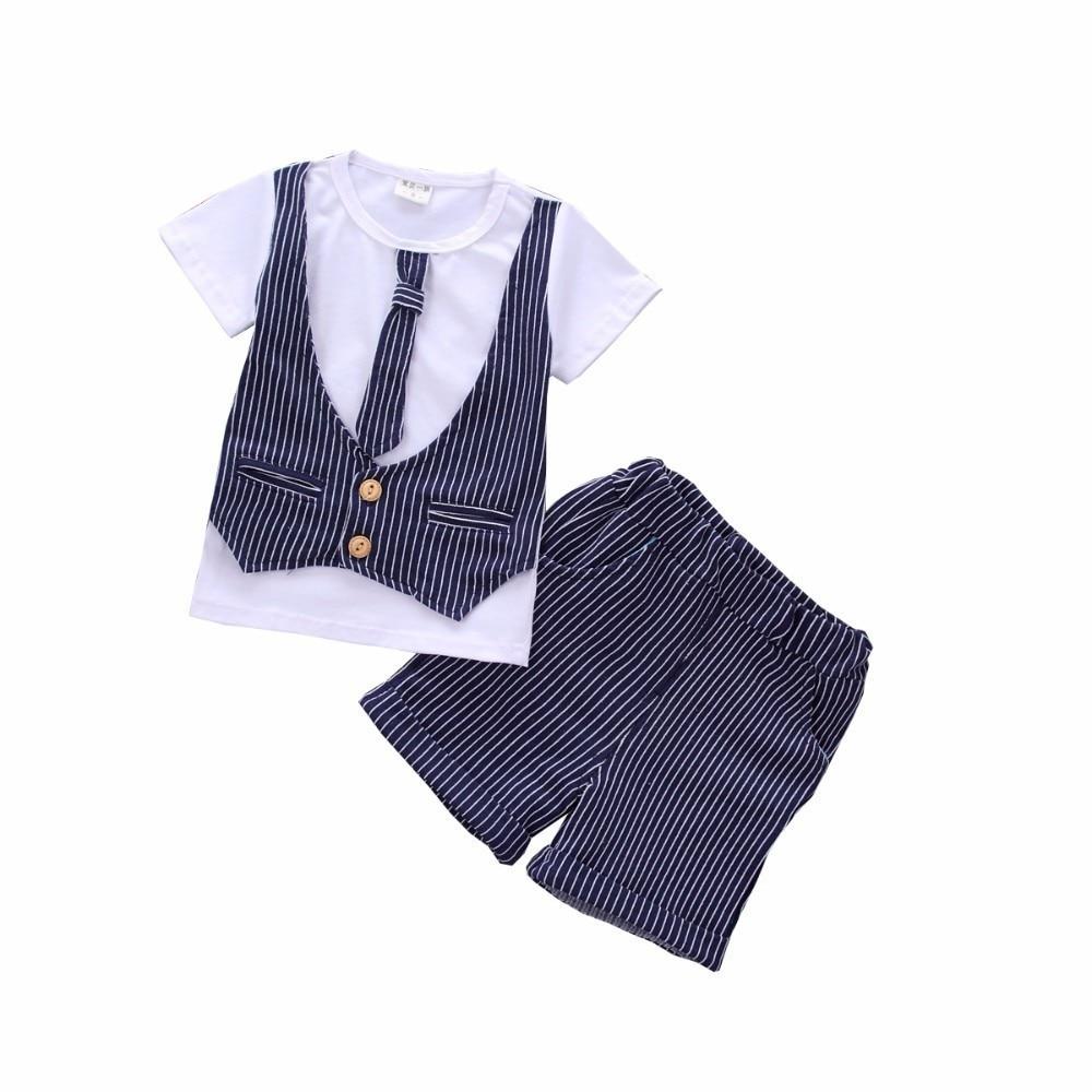 2019 Summer Children Boys Girls Stripe Garment Baby Gentleman Necktie T Shirt Shorts 2pcs/Sets Fashion Toddler Cotton Tracksuits