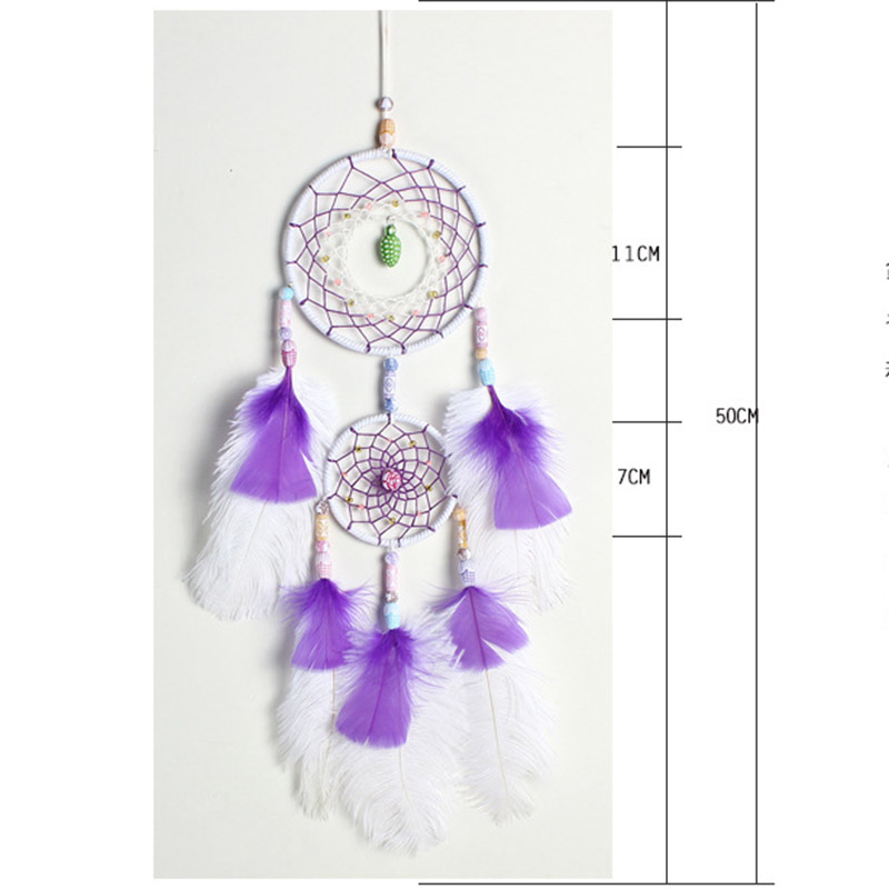 Ostrich feather dream catcher white purple two ring dream catcher pendant car pendant girl heart series home decoration in Wind Chimes Hanging Decorations from Home Garden