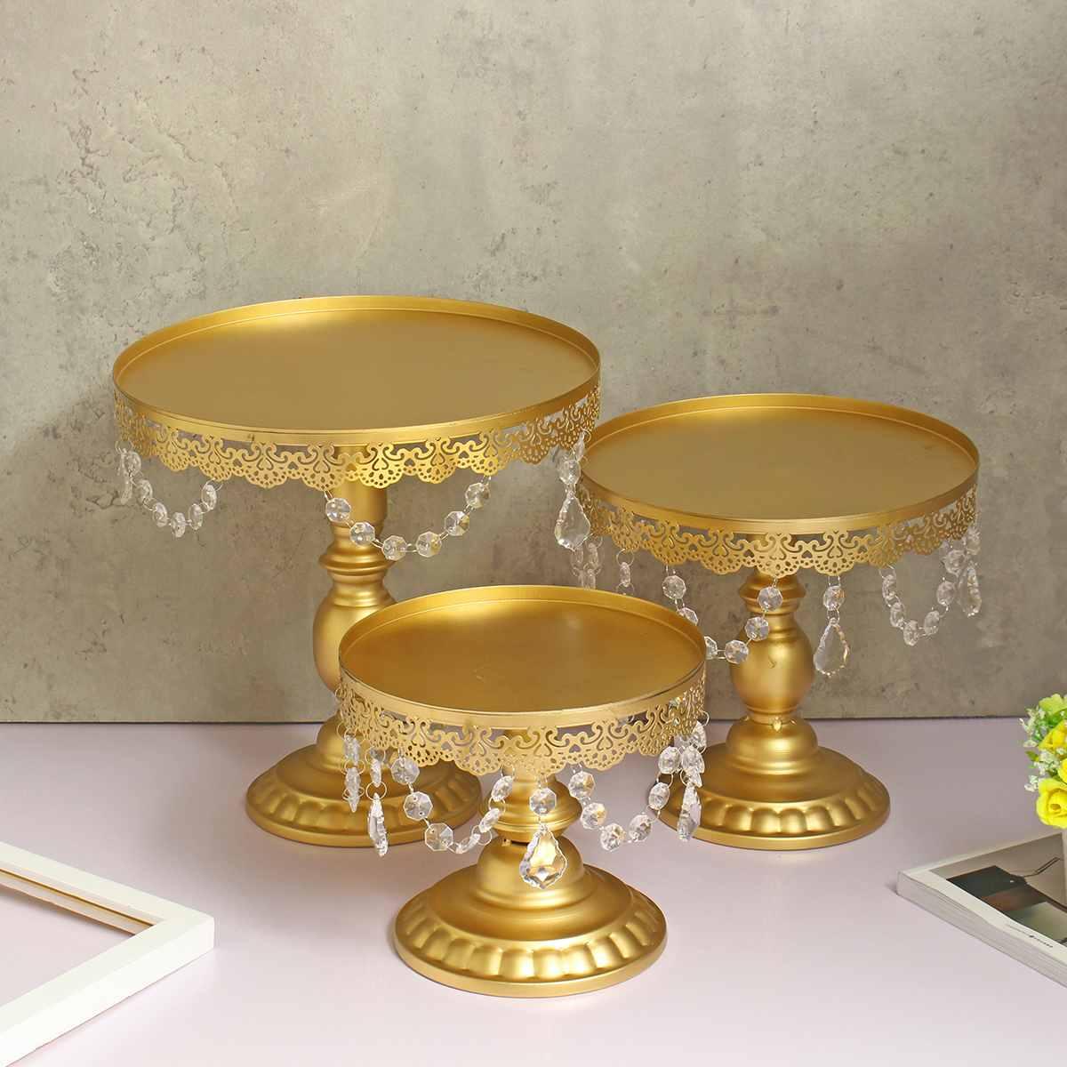 3 pièces 8/10/12 pouces Vintage gâteau Cupcake Stand or présentoir Dessert plateau titulaire fête de mariage ustensiles de cuisson pâtisserie outil