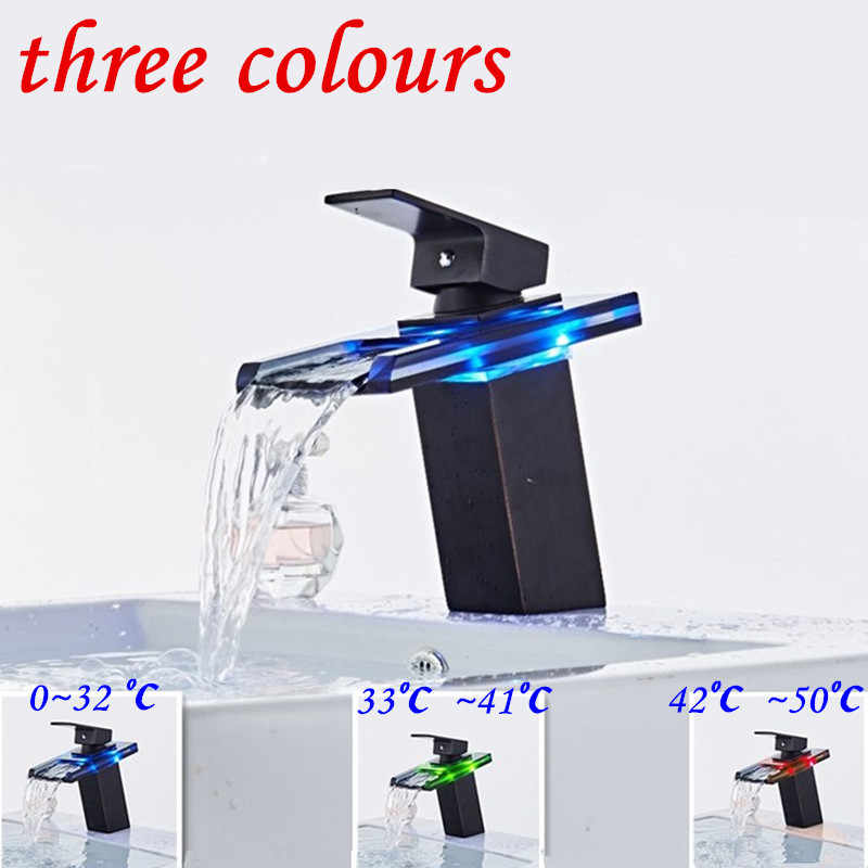 Bathroom Waterfall Led Faucet Glass Waterfall Black Brass Basin Faucet ORB Bathroom Mixer Tap Deck Mounted basin sink Mixer Tap