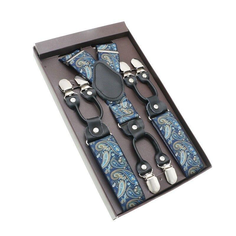 Preto Suspensorio 6 Clips Suspensórios Suspensórios de Couro Real Do Vintage Casuais Calças Cinta Tirante Bretele Pai/marido Presente
