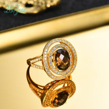 L&zuan Gold Plated 2.68ct Natural Smoky Quartz Ring for Woman Real 925 Silver Fine Jewelry(China)