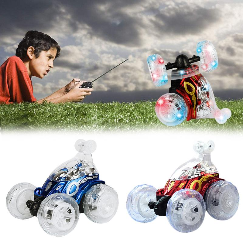 Lighting Remote Control Car Kids RC Car SUV Toy Off-Road Rotating Tumbling Stunt With LED Light Music Car Toys USB Cable