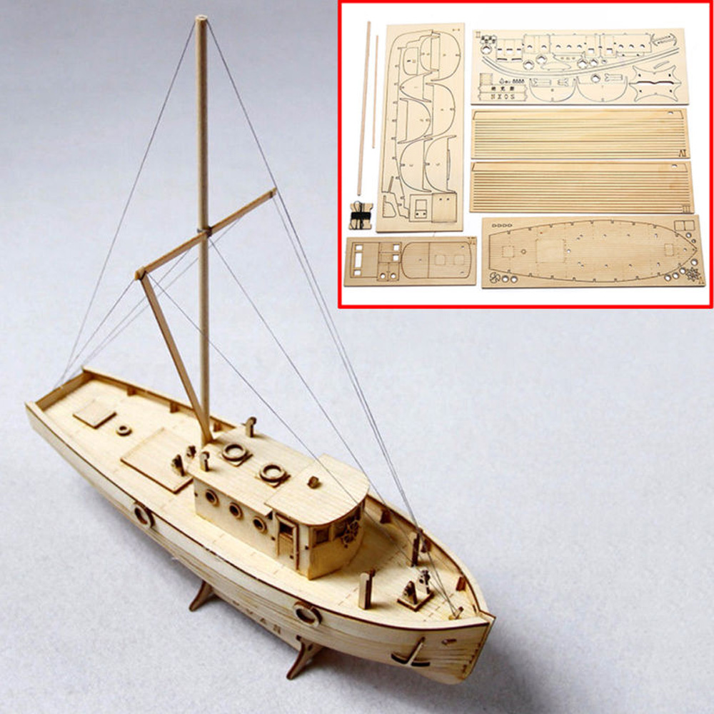 1pcs Wooden Sailing Boat Model DIY Kits Ship Assembly 1:30 Scale Decoration Toy Gift