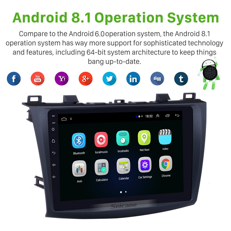 Image 2 - Seicane 9 Inch Android 8.1 Car Radio For 2009 2010 2011 2012 MAZDA 3 GPS Navi Wifi 3G Multimedia Player Head Unit Auto Stereo-in Car Multimedia Player from Automobiles & Motorcycles
