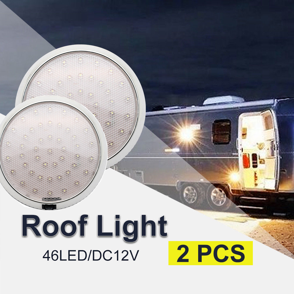 2x46 led teto luzes da cabine telhado caravana campervan van reboque interior lâmpada