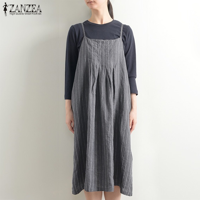 2019 ZANZEA Women Striped Dress Vintage Summer Overalls Dress Kaftan Boho Slip Sundress Plus Size Casual Straps Vestido 5XL