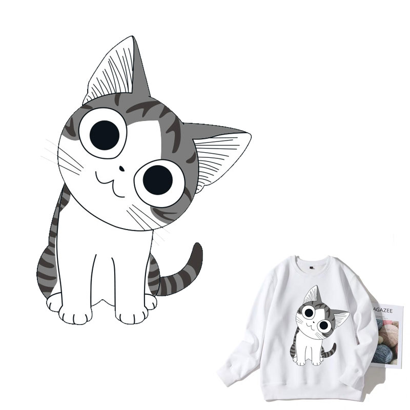 Cute Cat Cartoon Animal Iron On Patches Clothes Sticker DIY T-shirt Stripes hippie Thermal Heat Transfer for T-shirt Printed E