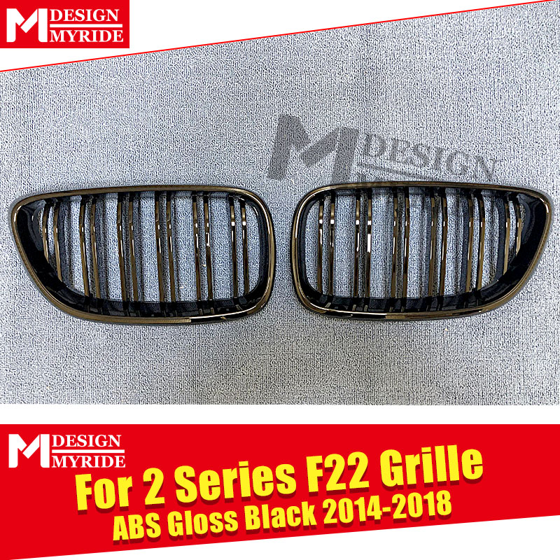 F22 Front Grille ABS Material Glossy Black For 2 Series 220i 228i 235i 2 Slats Front Bumper Kidney Grille Auto Car styling 2014 in Racing Grills from Automobiles Motorcycles