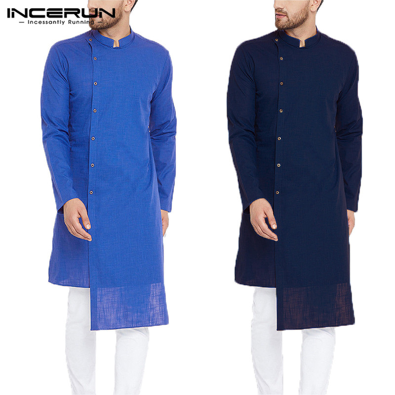 INCERUN Casual Mens Shirt Long Sleeve 100% Cotton Stand Collar Irregular Shirt Men Solid Color Tops Men Indian Kurta Suit S-5XL