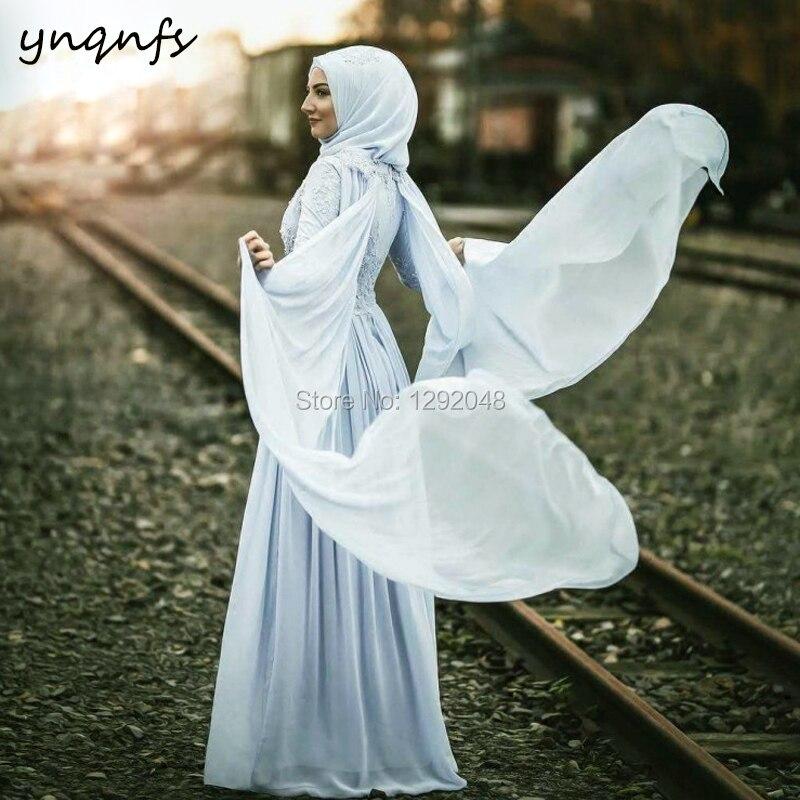YNQNFS MW34 Modest Formal   Dress   Party Gown High Neck Long Sleeve Hijab Muslim   Bridesmaid     Dresses   Chiffon Abiye 2019