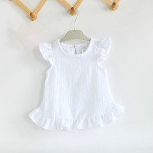 Ruffle Sleeve Summer Girls Blouses Tops Linen Cotton Lace Casual Baby Girl Shirts for Children недорого