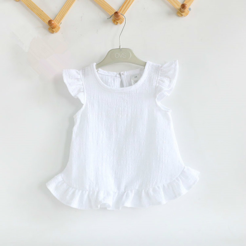 Ruffle Sleeve Summer Girls   Blouses   Tops Linen Cotton Lace Casual Baby Girl   Shirts   for Children
