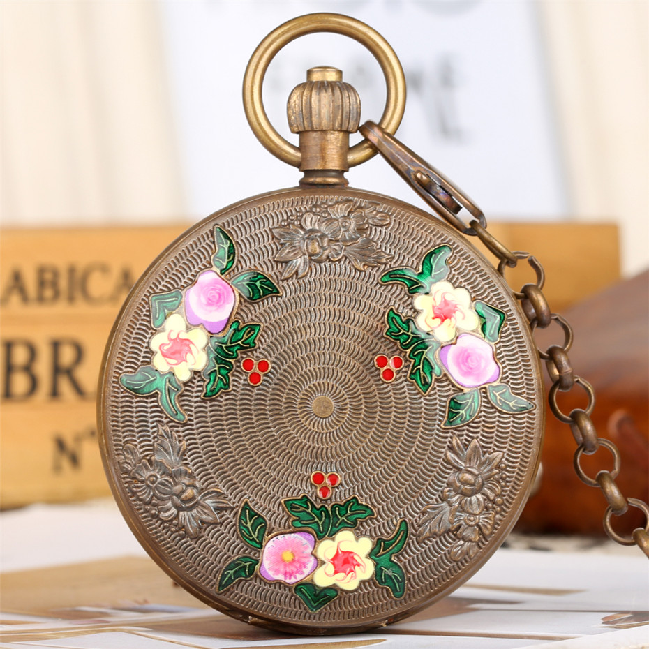 Élégant fleurs Design pur cuivre mécanique montre de poche de luxe poche pendentif montre pour hommes femmes Double chasseur montre Vintage