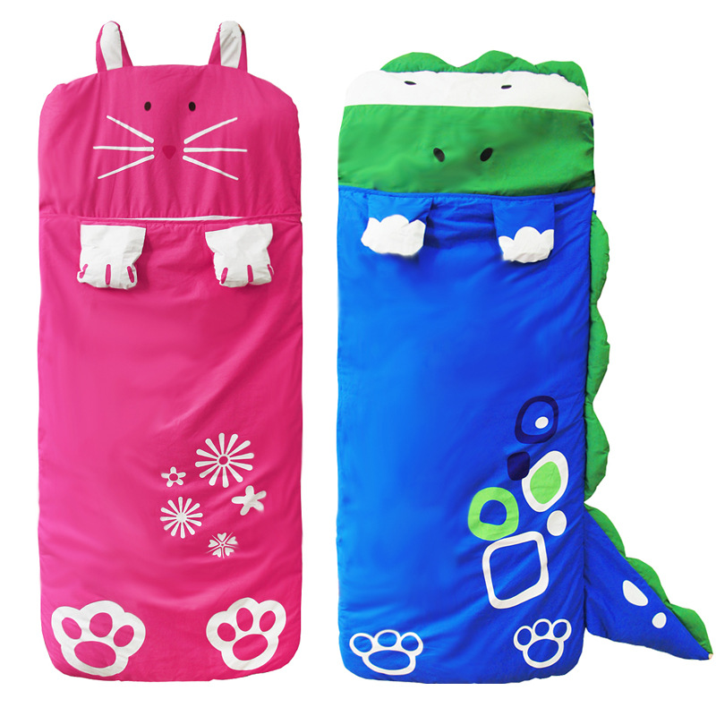 Autumn New Children's Cartoon Sleeping Bag Four-color Shape Children's Anti-kick Quilt Baby Cotton Winter Sleeping Bag Camping цена