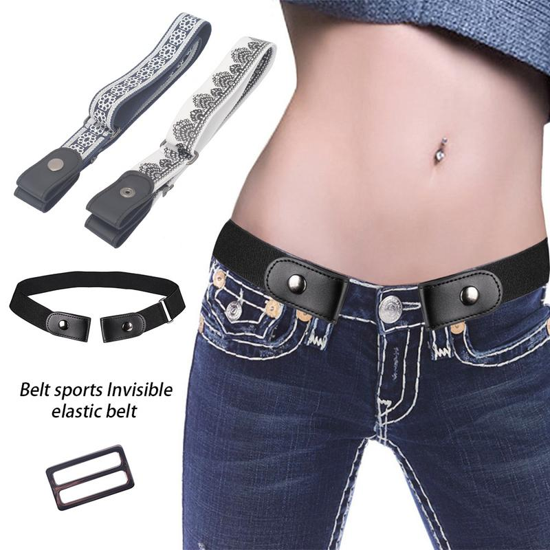 Invisible Lazy Buckle-Free Elastic Waist   Belt   Stretchy Women Men Jeans Pants Dress Waistband Adjustable No Hassle Outdoor Sports