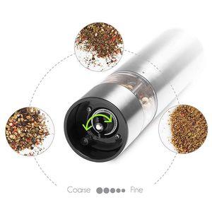 Image 4 - Elektrische Zout En Peper Slijpen Unit (2 Packs) Elektronisch Verstelbare Vibrator Keramische Molen Automatische One Handed