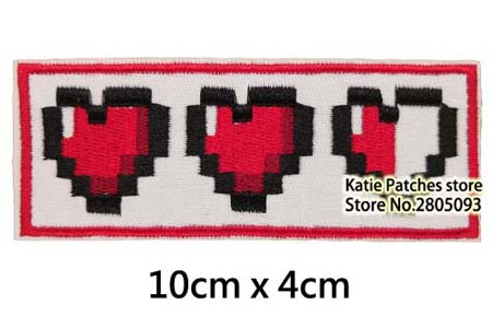 Legend of the Zelda Origin Heart Container Embroidered Iron On Patch Game Character Link Badge Fabric