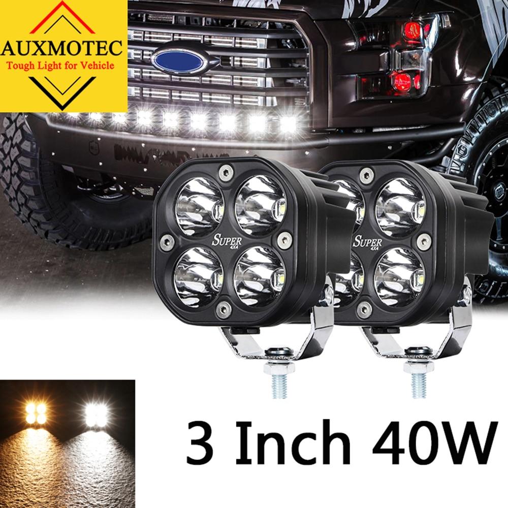 2pcs 40W Led Work Light 12V 24V 3 Inch Driving Lamp Offroad 4X4 Auto Car Led