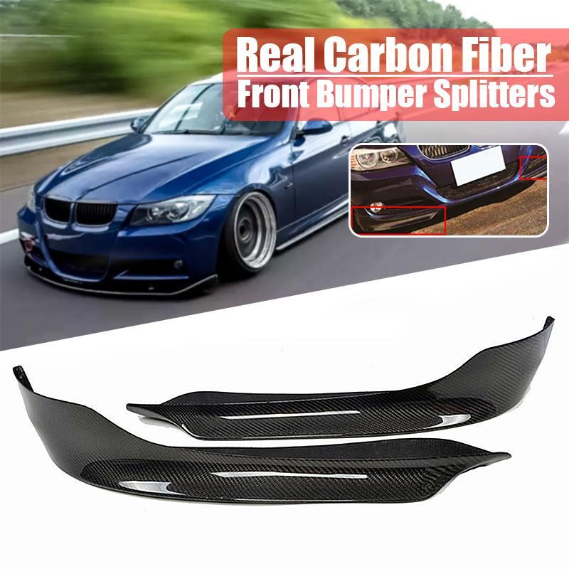 1 пара углеродного волокна автомобиль передние бампер разветвители губ Fin Air Ножи Авто тела для BMW E90 E91 3 серии 4DR седан 2009-2011