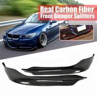 1 Pair Carbon Fiber Car Front Bumper Splitters Lip Fin Air Knife Auto Body for BMW E90 E91 3 SERIES 4DR Sedan 2009 2011