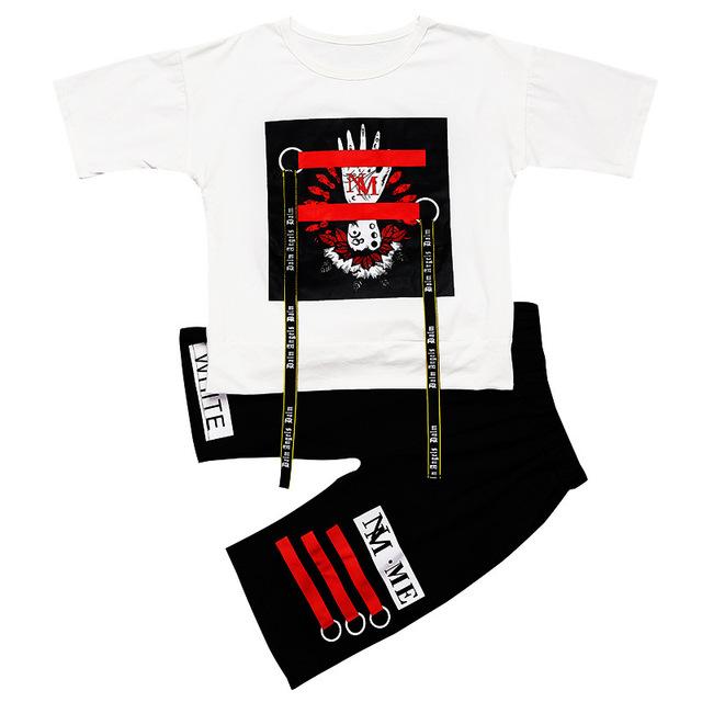 2018 New Children's Cool Hip Hop Dance Clothes Set Kids Performance Cotton Short Sleeve Pattern Belt T-shirt+Short Pants Suits
