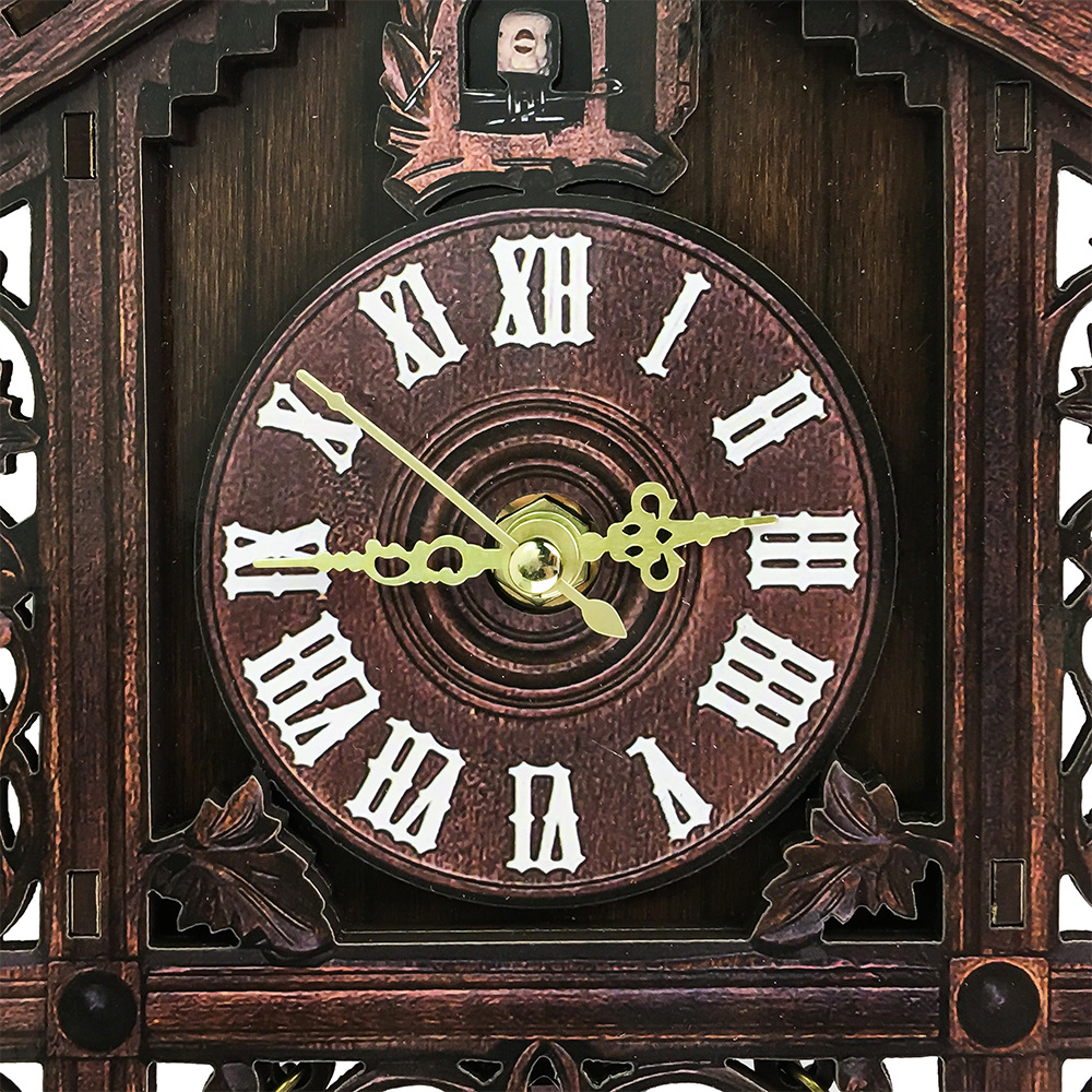 Vintage Handcraf Wood Cuckoo Wall Clock Tree House Style Swing Wall Clock Home Decor Wall Decoration For Room Study Bedroom
