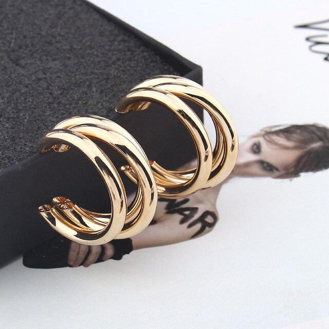 Simple Irregular Semi-circular Metal Earrings Gold Silver Color Round Hoop Earring for Women ZA Statement Earrings Punk Jewelry