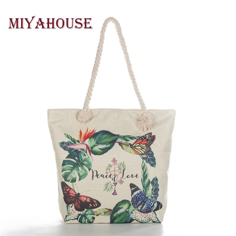 Miyahouse Casual Floral Print Shoulder Bag For Young Women Canvas Butterfly Handbags Lady Cotton Rope Shopping Bag High Quality rope canvas print beach bag