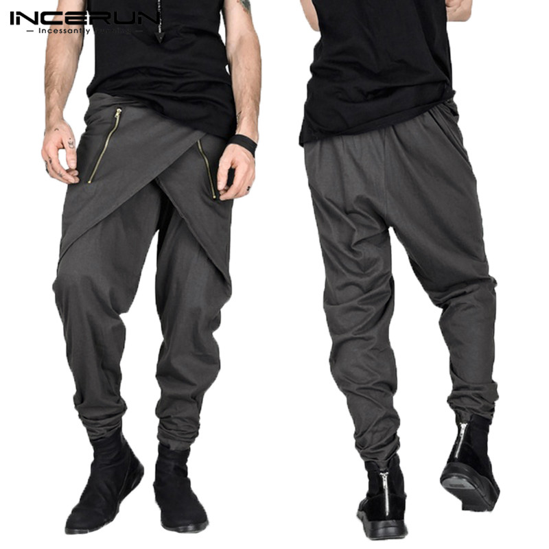 Fashion Mens Pants Gothic Punk Skirt Harem Pants Hiphop Irregular Zipper Slim Fit Sweatpants Male Trousers Pantalon  Show