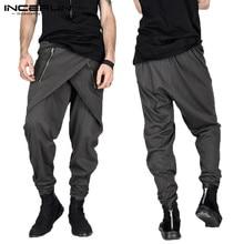 Fashion Mens Pants Gothic Punk Skirt Harem Pants Hiphop Irregular Zipper Slim Fit Sweatpants Male Trousers Pantalon  Show