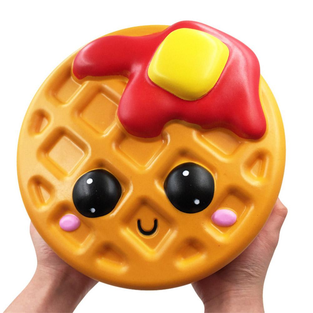 Children Squishy Waffles Expression Cake Squeeze Cartoon Toy Decorative Ornaments Simulation Pu Decompression Toy