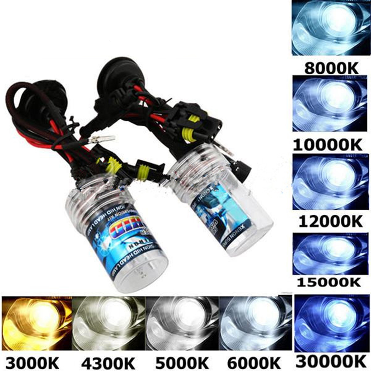 1 paire 12 V 55 W H7 voiture phares Xenon lampe ampoules 3000 K-30000 K 4600LM-2600LM pour HID phares ampoules1 paire 12 V 55 W H7 voiture phares Xenon lampe ampoules 3000 K-30000 K 4600LM-2600LM pour HID phares ampoules
