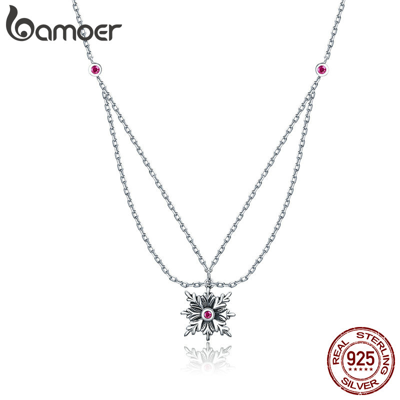 BAMOER New Arrival 925 Sterling Silver Double Layers Snowflakes Flower Chain Pendants Necklaces Women Fashion Jewelry SCN320BAMOER New Arrival 925 Sterling Silver Double Layers Snowflakes Flower Chain Pendants Necklaces Women Fashion Jewelry SCN320