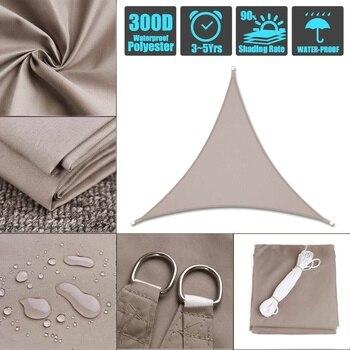 3x3x4.3 3x4x5 4x4x5.7 5x5x7.1  Kahki 300D polyester oxford long triangle shade sail sunlight garden courtyard Outdoor Camping