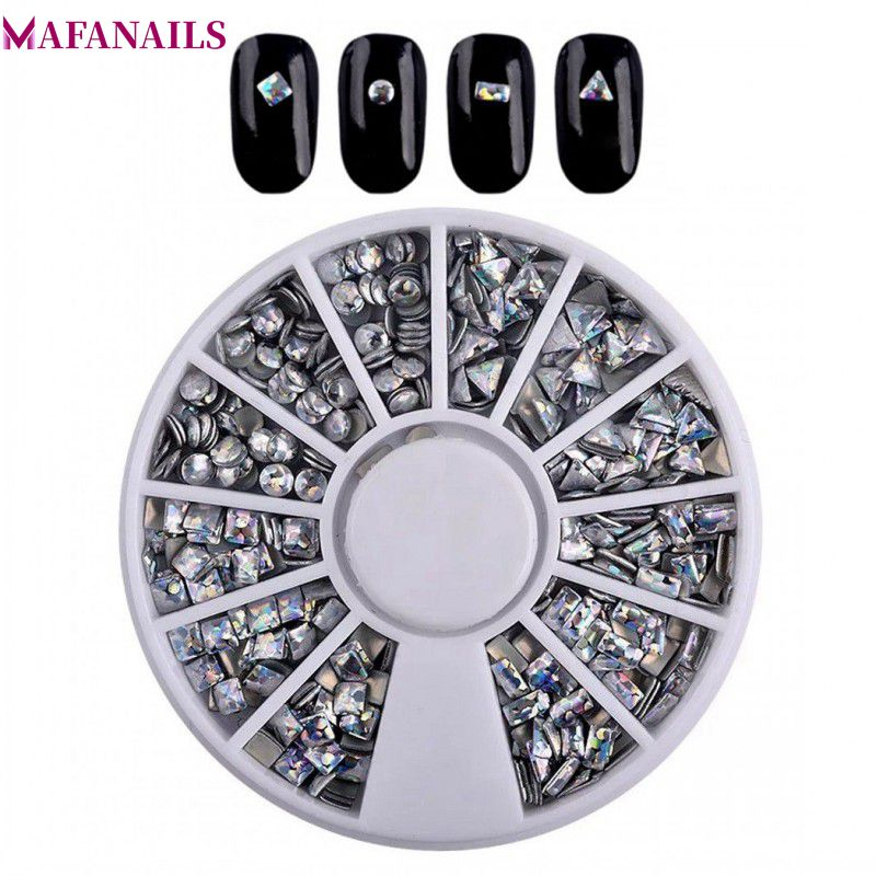 1 Wheel Holographic Rivet Round/Triangle/Square Nail Studs 2-4mm Charms Mixed Shape Art Decorations For Manicure Tools